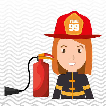 suppression: firefighter extinguisher protective vector illustration graphic