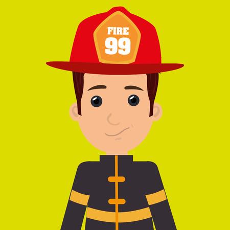 fire helmet: man fire helmet mask vector illustration graphic