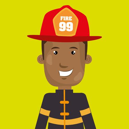 reflect: man fire helmet mask vector illustration graphic