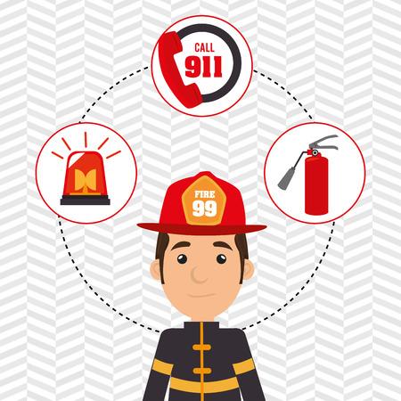man firefighter extinguisher vector illustration graphic eps 10 Illustration