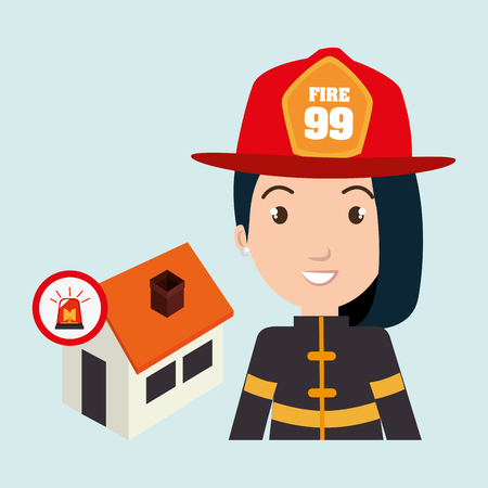 house on fire: woman firefighter house fire vector illustration graphic Illustration