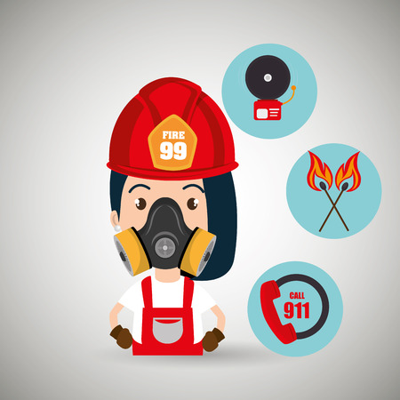 apprenticeship: woman firefighter call 911 alarm vector illustration graphic