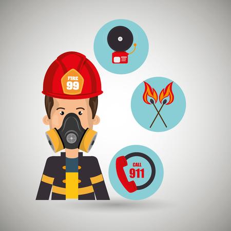 man firefighter call 911 alarm vector illustration graphic