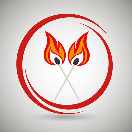 smoke alarm: match flame danger icon vector illustration graphic
