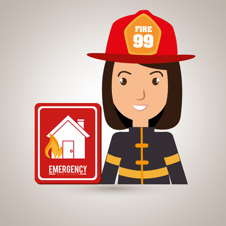tied girl: woman fire house icon vector illustration graphic Illustration