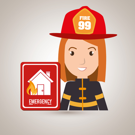 car bills: woman fire house icon vector illustration graphic Illustration
