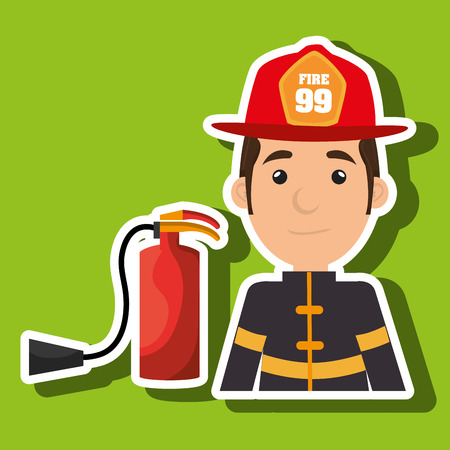 firefighter extinguisher protective vector illustration graphic