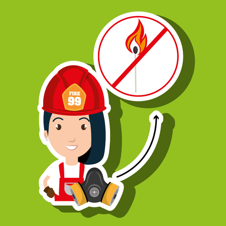 woman fire match vector illustration graphic