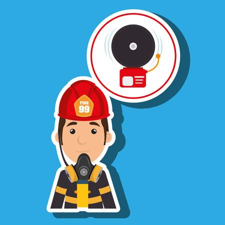 man fire alarm vector illustration graphic Illustration
