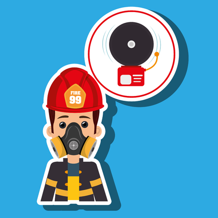 fire wire: man fire alarm vector illustration graphic Illustration