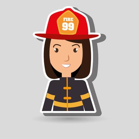 fire helmet: woman fire helmet mask vector illustration graphic Illustration