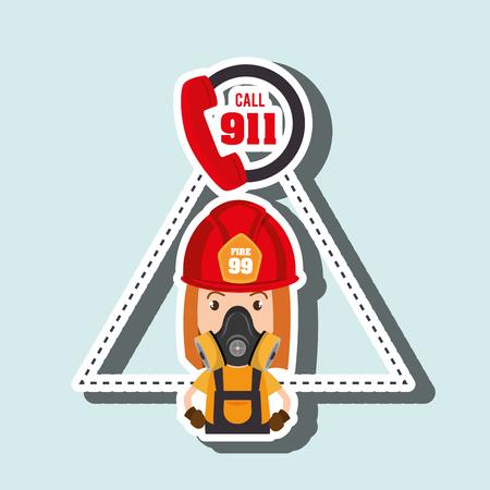 woman firefighter mask helmet vector illustration graphic Illustration