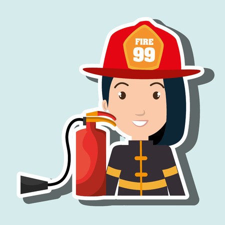 protective: firefighter extinguisher protective vector illustration graphic