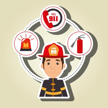 man firefighter extinguisher vector illustration graphic