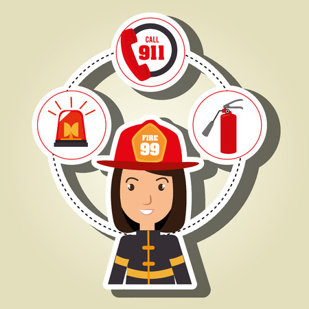 woman firefighter extinguisher vector illustration graphic