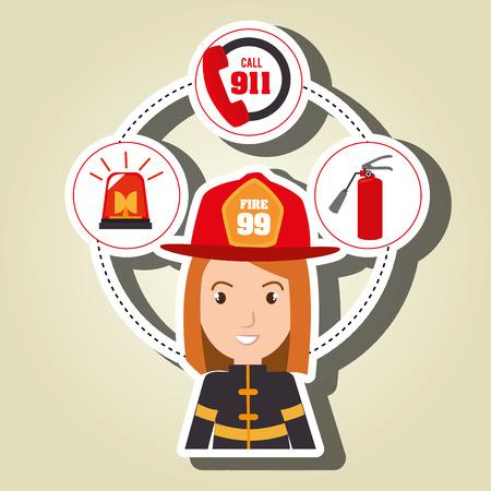 Mujer extintor de bombero ejemplo gráfico del vector