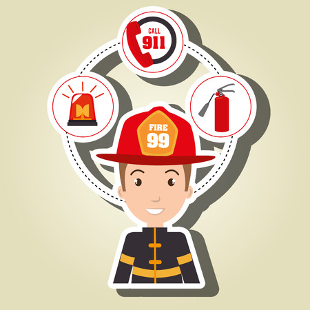 man firefighter extinguisher vector illustration graphic