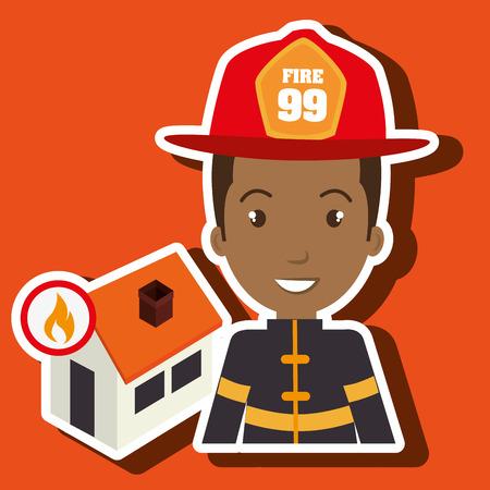 incendio casa: hombre bombero de bomberos ejemplo gr�fico del vector Vectores