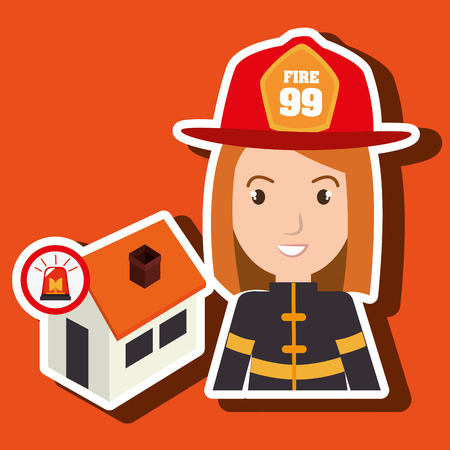 house fire: woman firefighter house fire vector illustration graphic Illustration