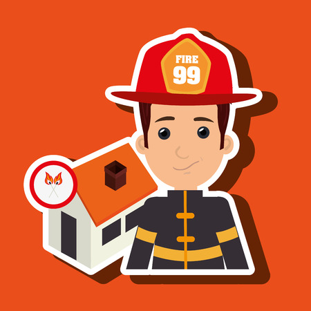 house fire: man firefighter house fire vector illustration graphic