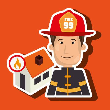 incendio casa: hombre bombero de bomberos ejemplo gráfico del vector Vectores