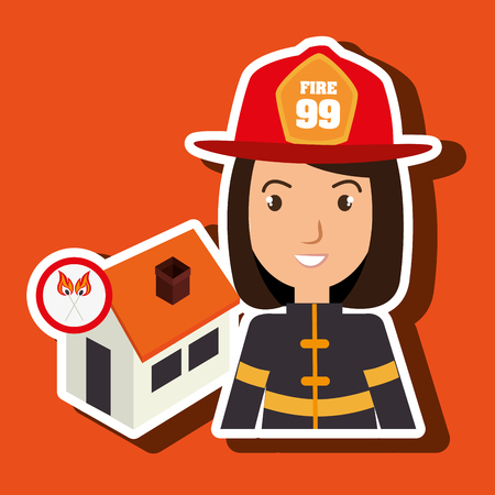 woman firefighter house fire vector illustration graphic Illustration