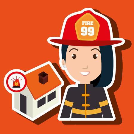 incendio casa: mujer bombero de bomberos ejemplo gráfico del vector