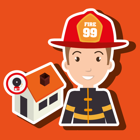 man firefighter house fire vector illustration graphic