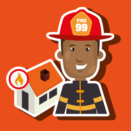 house on fire: man firefighter house fire vector illustration graphic