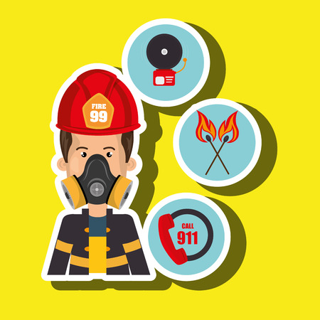 apprenticeship: man firefighter call 911 alarm vector illustration graphic