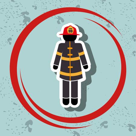 firefighter uniform protection icon vector illustration graphic Illustration