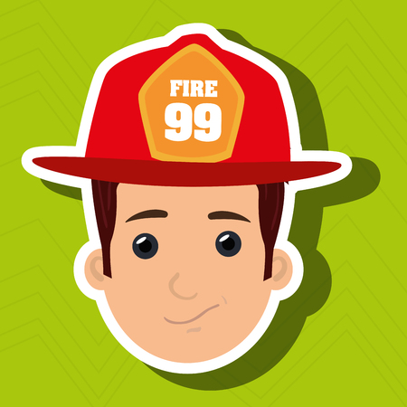 firefighter man service fire vector illustration graphic