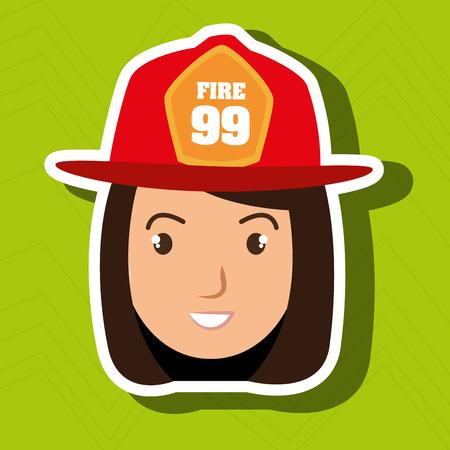 vrouw firewoman helm icoon vector grafische illustratie Stock Illustratie
