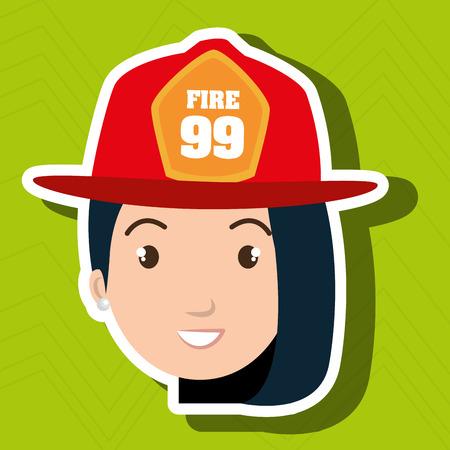 woman firewoman helmet icon vector illustration graphic Illustration