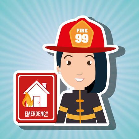 woman fire house icon vector illustration graphic Illustration