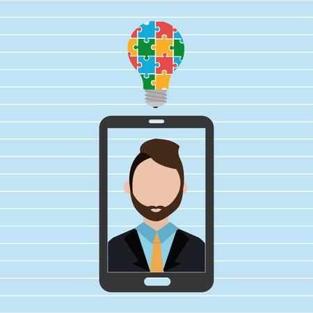 smartphone man idea icon vector illustration