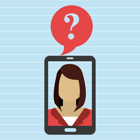 smartphone woman question icon vector illustration