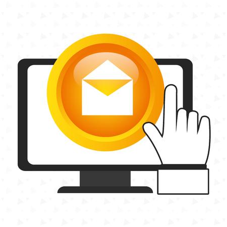 enveloped: laptop enveloped hand vector illustration