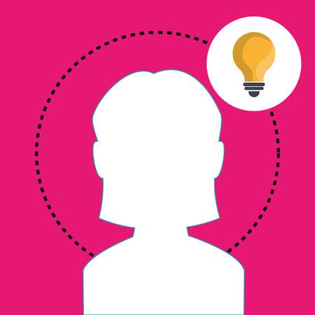 invent clever: silhouette woman idea vector