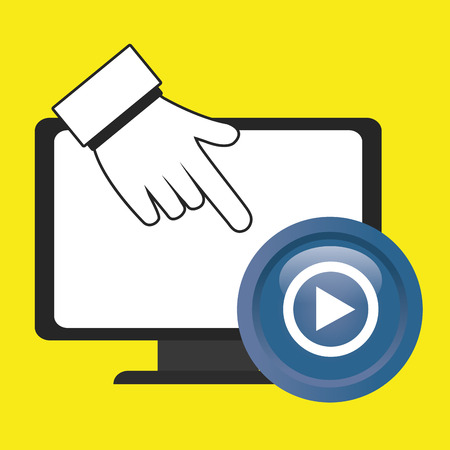 media player: laptop play hand  vector