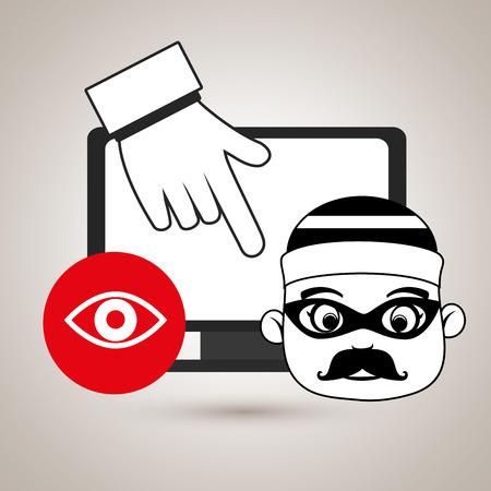 detected: laptop virus safe security vector Illustration