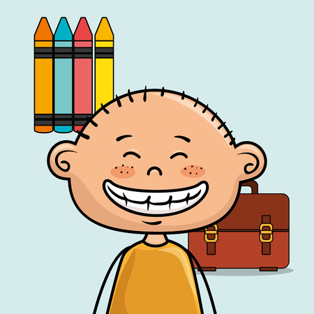 boy student colors school baggage vector illustration eps10 eps 10
