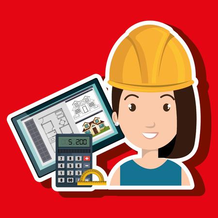 protractor: woman architect protractor vector illustration icon eps 10