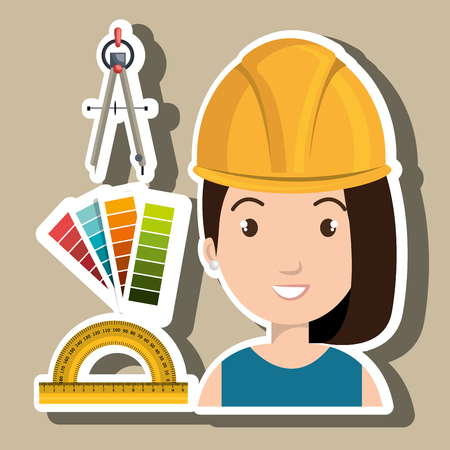 architect tools: architect woman tools icons vector illustration icon