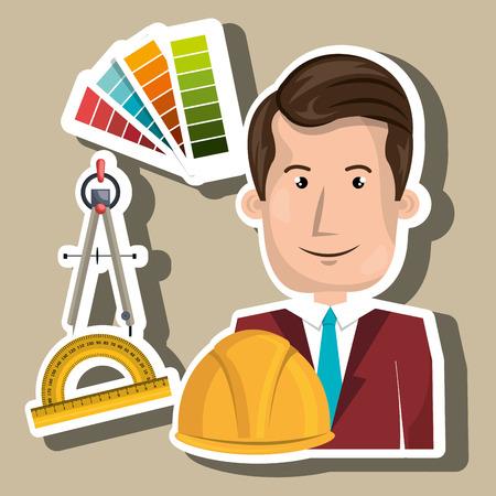 architect tool man work vector illustration icon Illustration