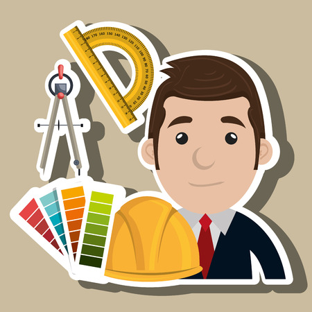 labourer: architect tool man work vector illustration icon Illustration