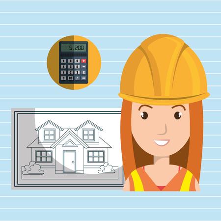 executive helmet: woman architect plane tool vector illustration icon