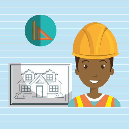 construction project: man architect tools vector illustration icon eps 10