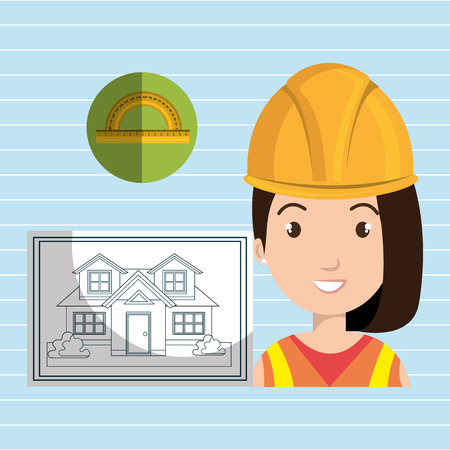 tied girl: woman architect plane tool vector illustration icon