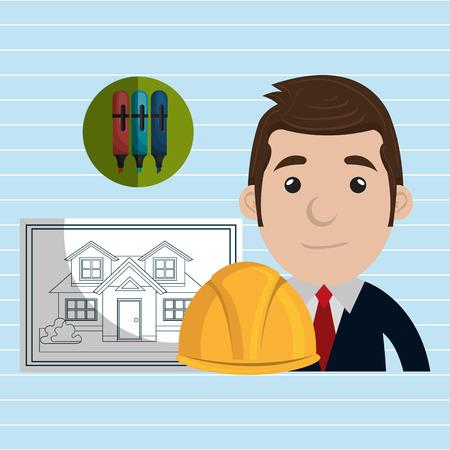 architect tools: man architect tools vector illustration icon eps 10